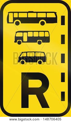 Temporary Road Sign Used In The African Country Of Botswana - Reserved Lane For Buses, Midi-buses An
