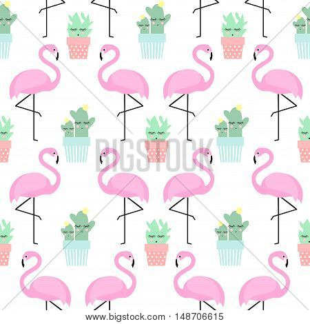 Flamingo with cactus in cute pots seamless pattern. Simple cartoon plant vector illustration. Child drawing style cute cacti with tropical bird background.