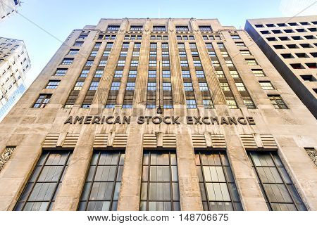 New York City - September 11, 2016: American Stock Exchange in Lower Manhattan New York City