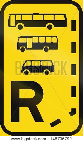 Temporary Road Sign Used In The African Country Of Botswana - Start Of A Reserved Lane For Buses, Mi