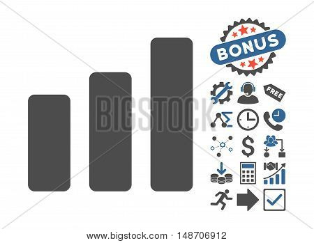 Bar Chart Increase icon with bonus elements. Vector illustration style is flat iconic bicolor symbols cobalt and gray colors white background.