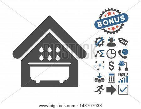 Bathroom icon with bonus pictograph collection. Vector illustration style is flat iconic bicolor symbols cobalt and gray colors white background.