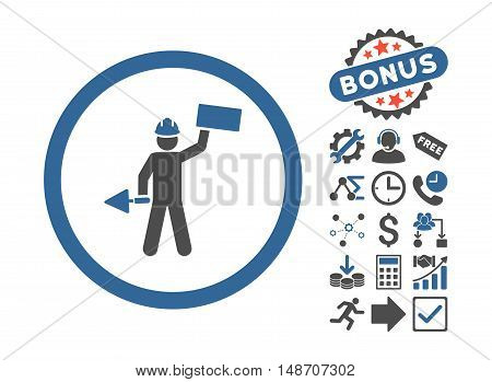 Builder With Shovel icon with bonus pictogram. Vector illustration style is flat iconic bicolor symbols, cobalt and gray colors, white background.