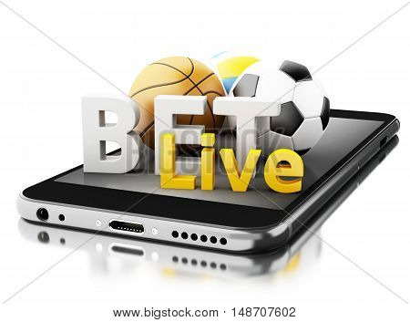 3d renderer image. Smartphone with sport balls and bet live. Betting concept. Isolated white background.