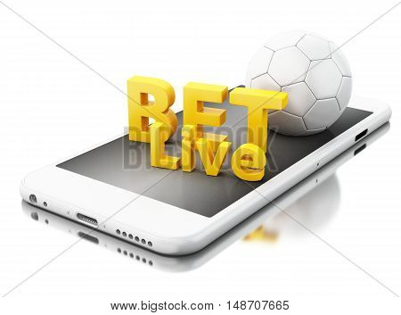 3d renderer image. Smartphone with soccer ball and bet live. Betting concept. Isolated white background.