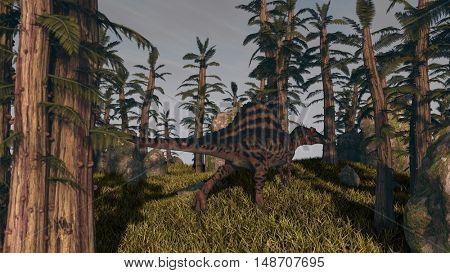 3d illustration of the hunting spinosaurus