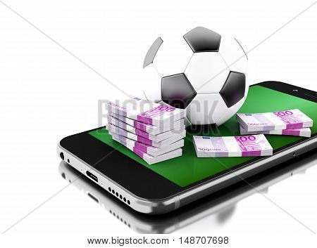 3d renderer image. Smartphone with soccer ball and money. Betting concept. Isolated white background.