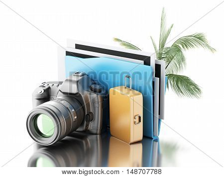 3d renderer image. Photo camera with folder palm tree and suitcase. Travel concept. Isolated white background.