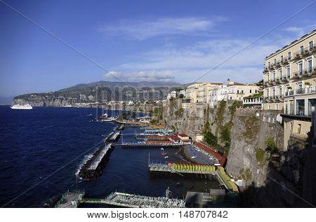 sorrento city in mediterranean coast of italy