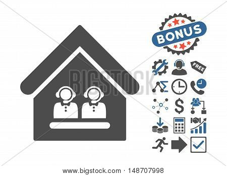 Call Center Office pictograph with bonus pictogram. Vector illustration style is flat iconic bicolor symbols, cobalt and gray colors, white background.
