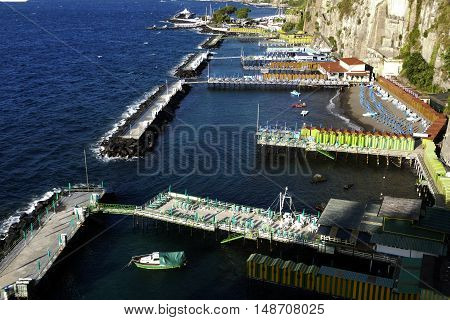 view of marina in sorrento city in mediterranean coast of italy