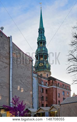 Bottom Up View On St Peter Church In Riga
