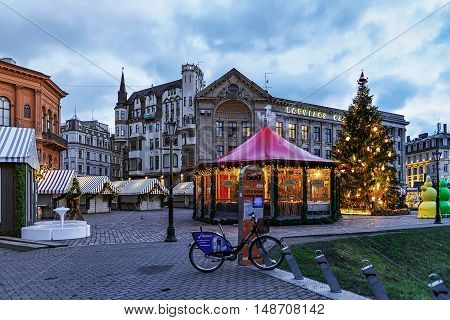 Christmas Market In Riga Cathedral Square At Dusk