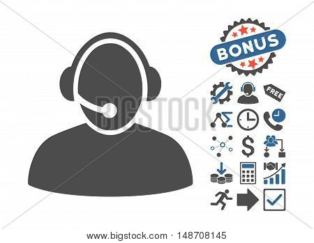 Call Center pictograph with bonus elements. Vector illustration style is flat iconic bicolor symbols, cobalt and gray colors, white background.