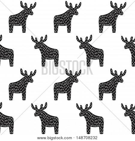 Black and white Christmas pattern with reindeer. Simple seamless Happy New Year background. Winter holidays vector design for textile, wallpaper, web, wrapping paper, fabric, decor etc.