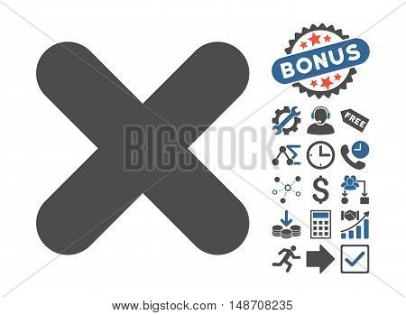 Cancel icon with bonus pictograph collection. Vector illustration style is flat iconic bicolor symbols, cobalt and gray colors, white background.