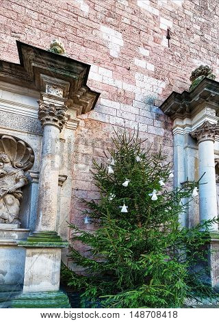 Fragment Of Saint Peter Cathedral And Christmas Tree In Riga