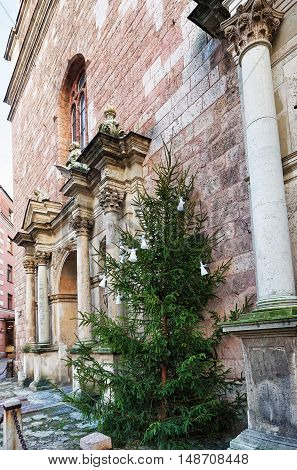 Fragment Of St Peter Church And Christmas Tree In Riga