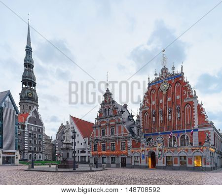House Of Blackheads And St Peter Cathedral In Riga