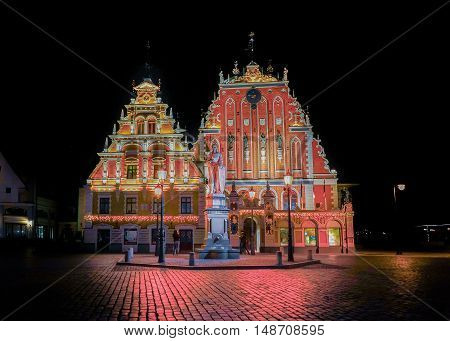 House Of Blackheads At Christmas In Riga At Night