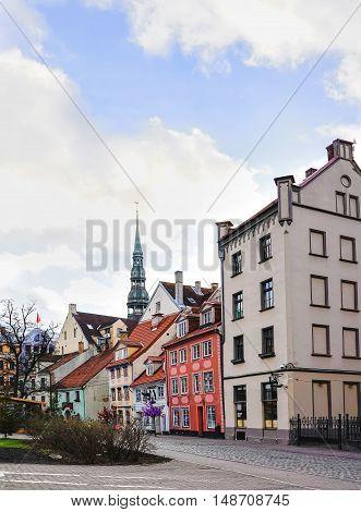 Livu Square Near Riga Christmas Market With Saint Peter Church
