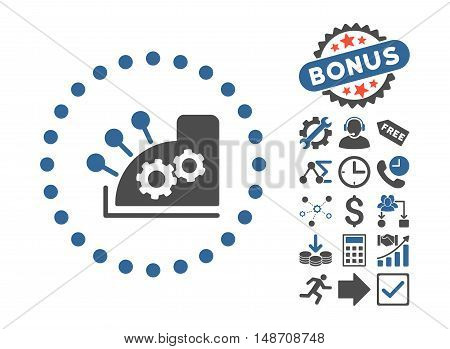 Cash Register pictograph with bonus clip art. Vector illustration style is flat iconic bicolor symbols, cobalt and gray colors, white background.