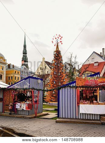 Riga Christmas Market With Saint Peter Church Steeple