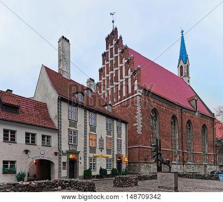 Street At St John Church In Old Riga At Christmas