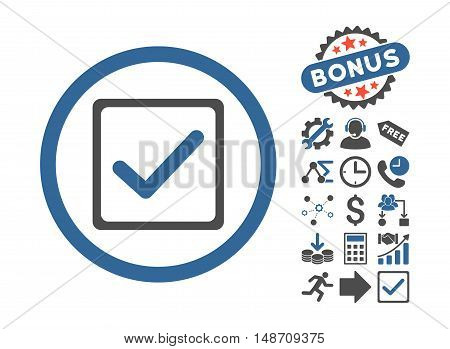 Checkbox pictograph with bonus elements. Vector illustration style is flat iconic bicolor symbols, cobalt and gray colors, white background.