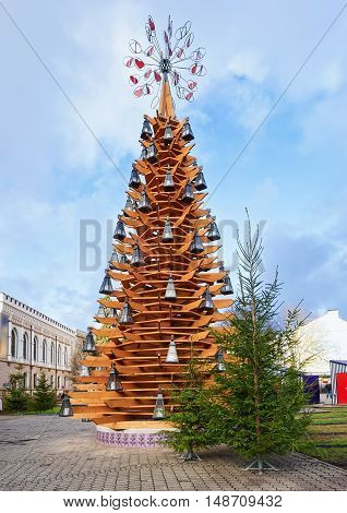 Wooden Christmas Tree In Riga Old City