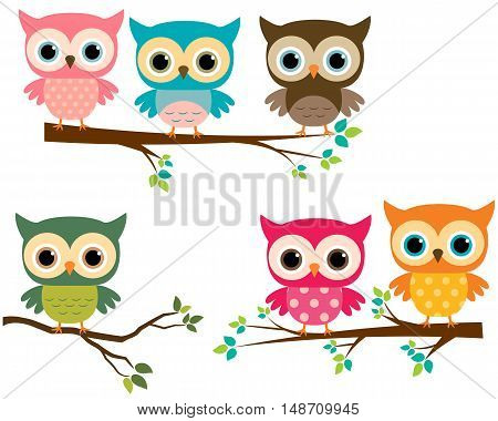 Vector Cute Cartoon Owls and Tree Branches