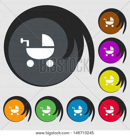 Baby Stroller Icon Sign. Symbols On Eight Colored Buttons. Vector