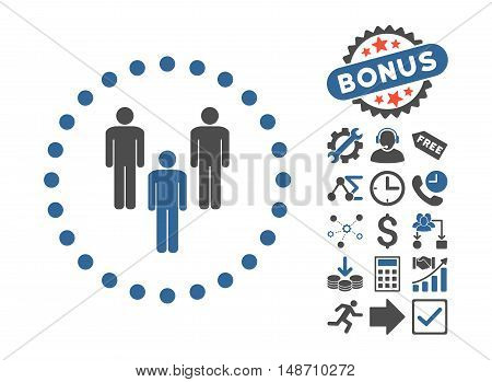 Community icon with bonus pictures. Vector illustration style is flat iconic bicolor symbols, cobalt and gray colors, white background.