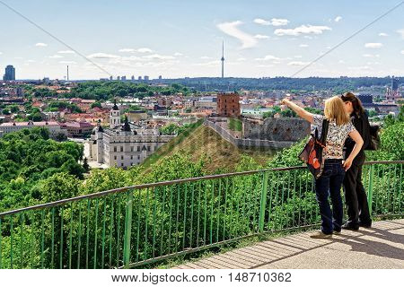 Women Viewing The Gediminas Tower And Lower Castle Vilnius