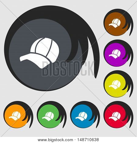 Ball Cap Icon Sign. Symbols On Eight Colored Buttons. Vector