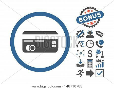 Credit Card icon with bonus pictograph collection. Vector illustration style is flat iconic bicolor symbols, cobalt and gray colors, white background.