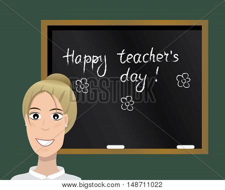 Happy teacher's day card. Vector illustration. Cartoon character. Isolated.