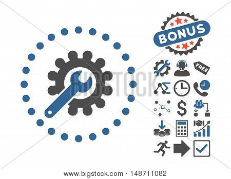 Customization pictograph with bonus pictograph collection. Vector illustration style is flat iconic bicolor symbols, cobalt and gray colors, white background.