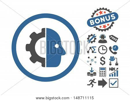 Cyborg icon with bonus symbols. Vector illustration style is flat iconic bicolor symbols, cobalt and gray colors, white background.