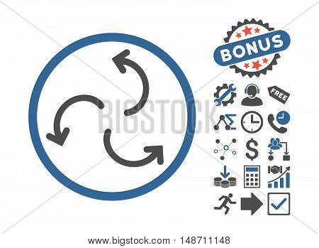 Cyclone Arrows icon with bonus clip art. Vector illustration style is flat iconic bicolor symbols, cobalt and gray colors, white background.