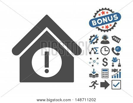 Danger Building icon with bonus pictogram. Vector illustration style is flat iconic bicolor symbols, cobalt and gray colors, white background.