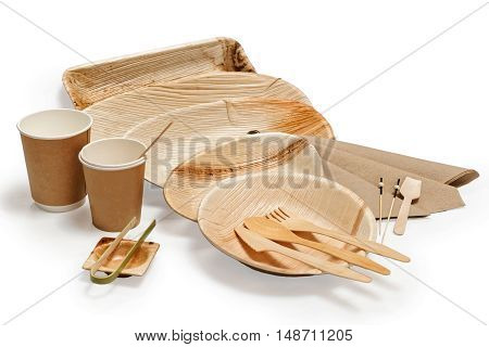 Bamboo Wooden Tableware Isolated On White