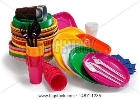 Bright Plastic Tableware Isolated On The White