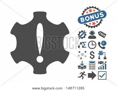 Danger icon with bonus elements. Vector illustration style is flat iconic bicolor symbols, cobalt and gray colors, white background.