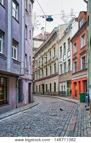 Empty Streets During Winter Time In Old Riga