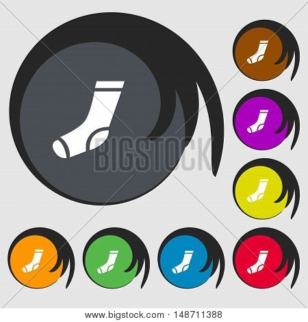 Socks Icon Sign. Symbols On Eight Colored Buttons. Vector