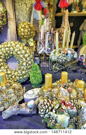 Golden Christmas Wreaths At The Riga Christmas Market