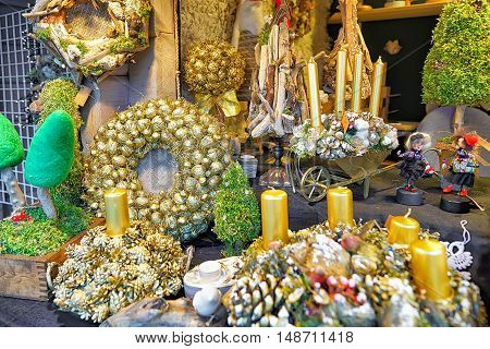 Golden Christmas Wreaths With Candles At The Riga Christmas Market