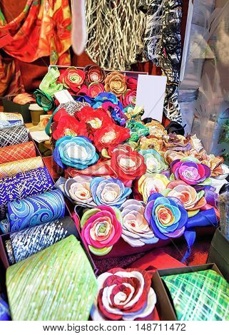 Handmade Ties And Flower Brooches During Riga Christmas Market