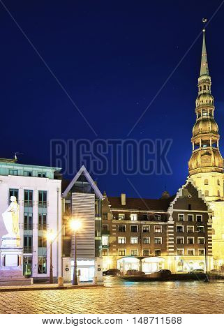 Night View At Town Hall Square In Old Riga